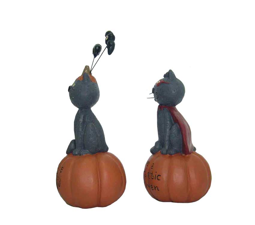 The cat man standing on a pumpkin for Hallowmas garden decorative resin statues