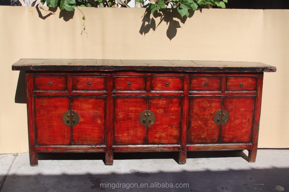 Chinese antique long sideboard cabinet