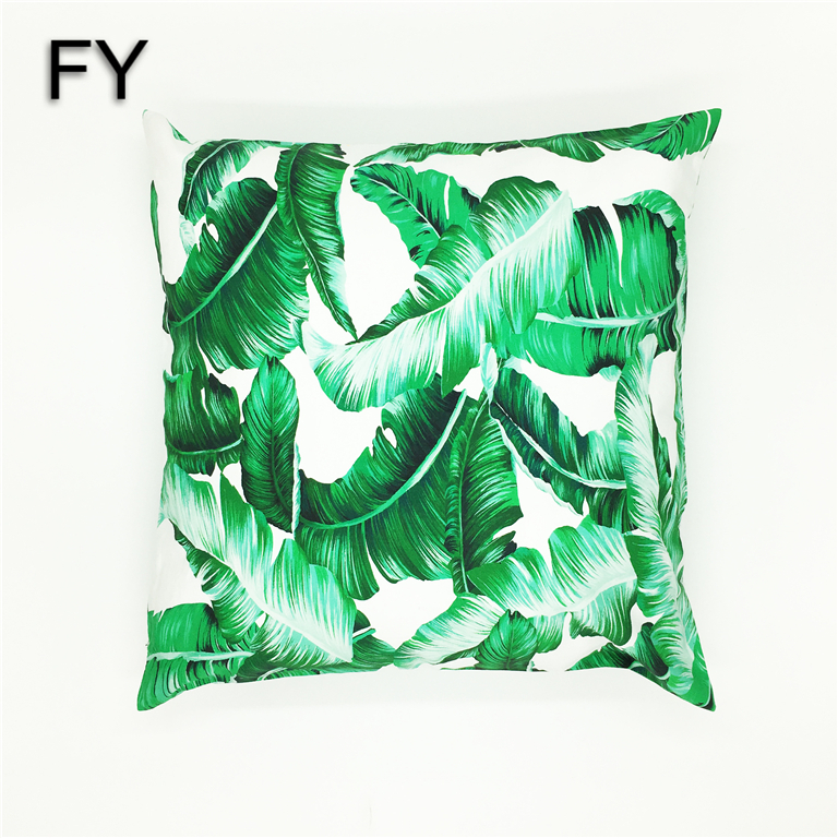 Reactive printing palm leaf canvas cotton cushion covers decorative