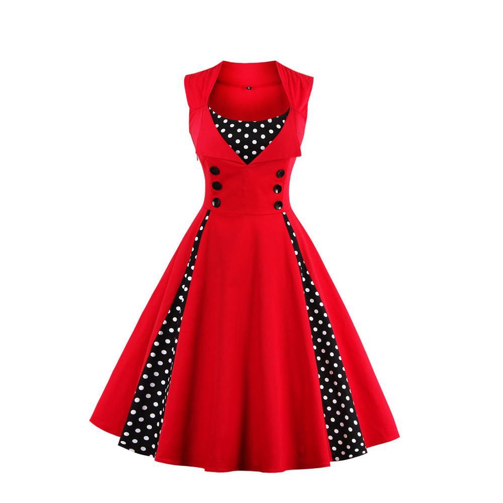Alibaba.com / Women 5XL New 50s 60s Retro Vintage Dress Polka Dot Patchwork Sleeveless Spring Summer Red Dress Rockabilly Swing Party Dress