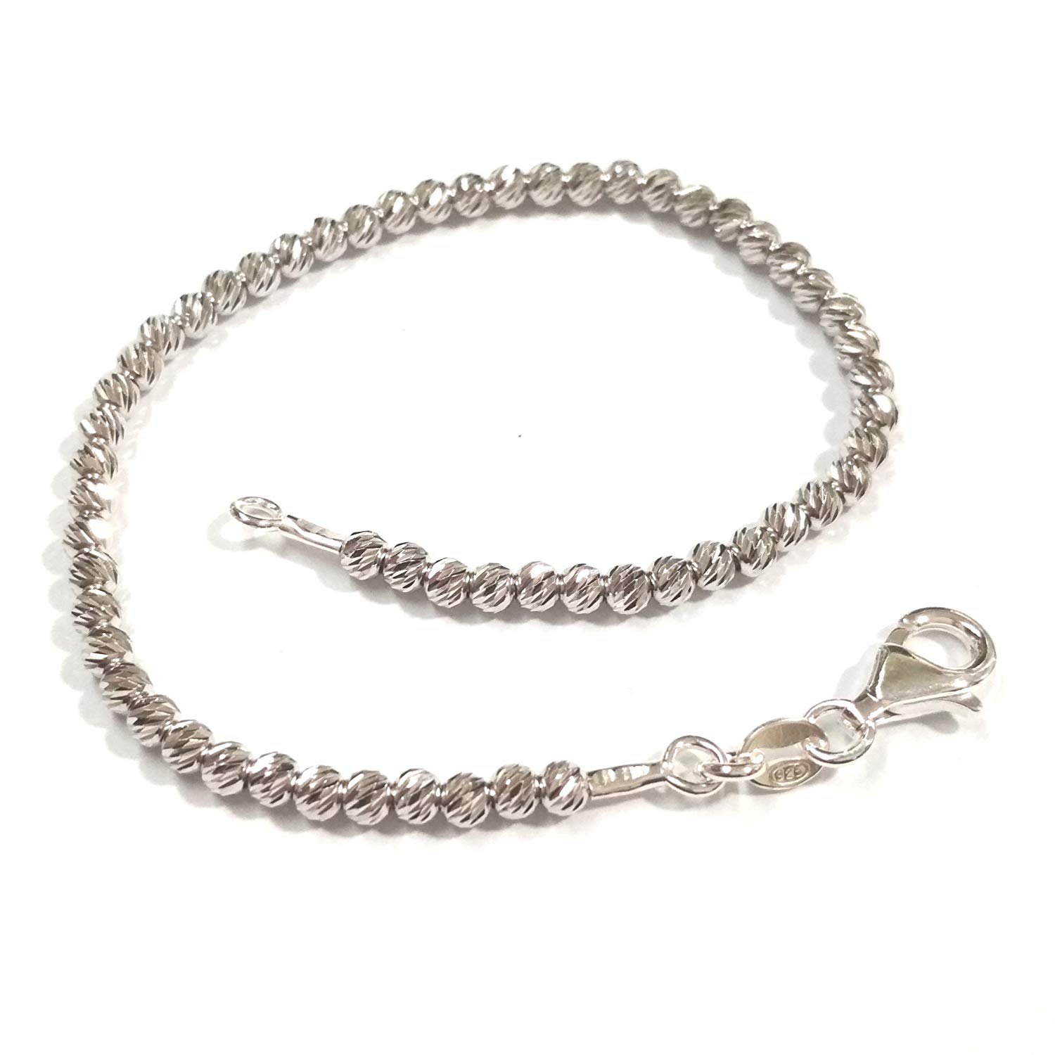 RHODIUM PLATED 925 Sterling Silver 3mm LASER CUT Diamond Cut BEADS Beaded BRACELET Made toYour Size