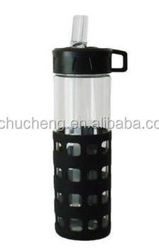 Custom Glass Water Bottle With Straw & Flip Up Spout,20oz,Black Silicone  Sleeve,Voss - Buy Glass Water Bottle,Voss Water Glass Bottle  Wholesale,Custom