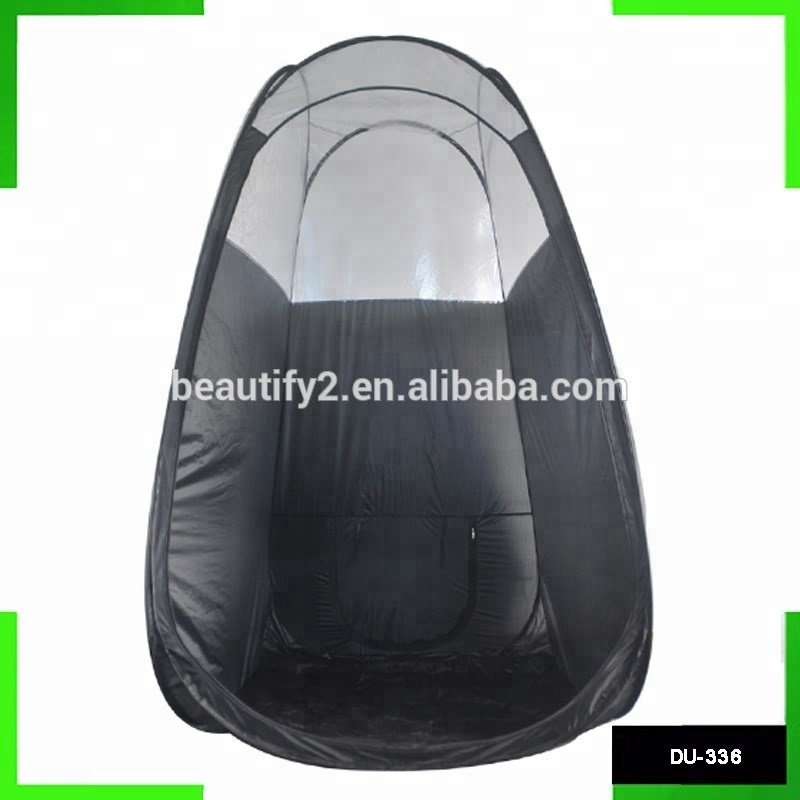 Black waterproof spray tan tent popup tent packed in carrying bag