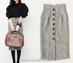 2016 Autumn Winter Retro High Waist Vintage Style Women Slim Woolen Long Dress