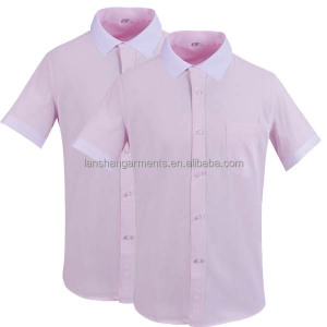 pink dress shirt white collar with short sleeve