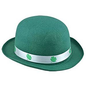 Luck of the Irish St. Patrick's Day Kelly Green Derby Bowler Hat With Shamrock Ribbon