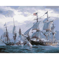 Nordic Modern Oil Painting Set Battleship On The Sea Posters And Prints Wall Pictures For Living Room Home Decoration