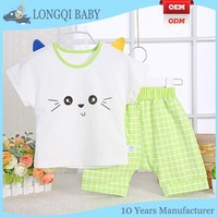 XZ-MC-028 unique design baby summer sets fashion baby girls shirt and short children clothes