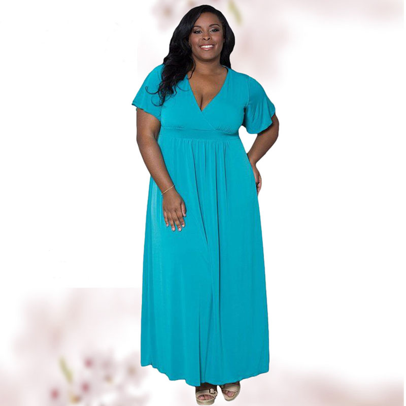 6XL Plus Size Sexy V neck Short Sleeve Maxi Dress For ...
