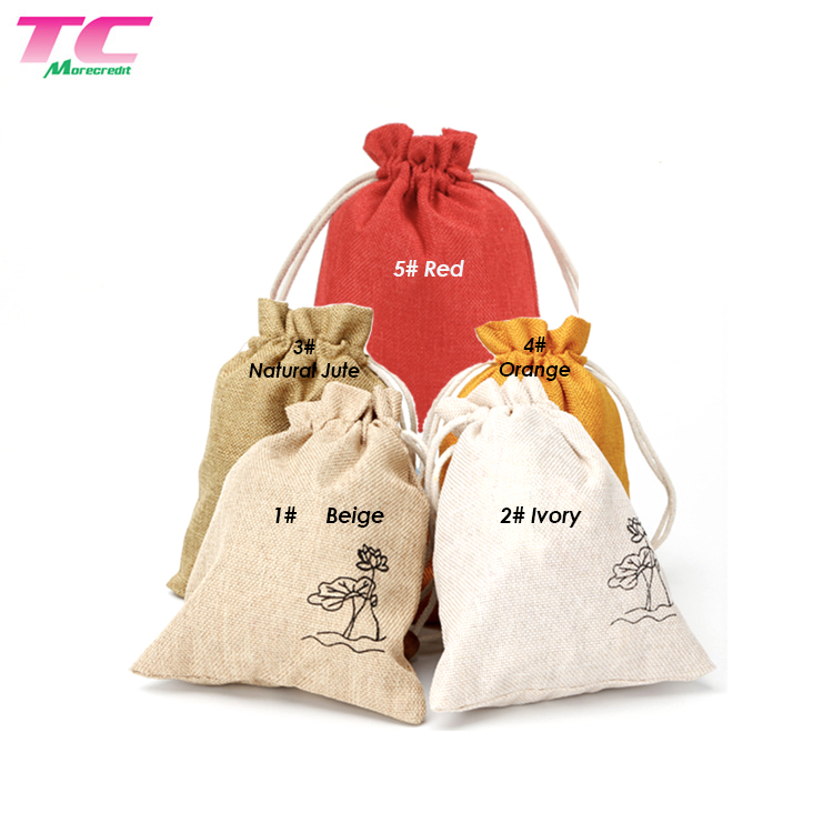 Wholesale Jute Hessian Gift Pouch Bags Drawstring Burlap Linen Wine Bag For Wedding Birthday Party Favor
