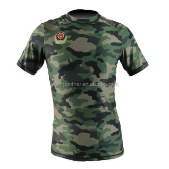 fashion design custom printed sublimated camo rash guard