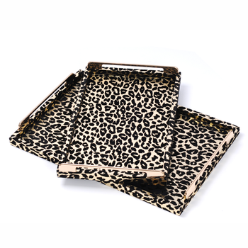 acafc6313f027 Rectangle Wholesale Decorative Wooden Tray Leopard Leather Serving Tray  With Metal Handles - Buy Wood Tray,Wooden Craft Serving Tray,Leather  Serving ...