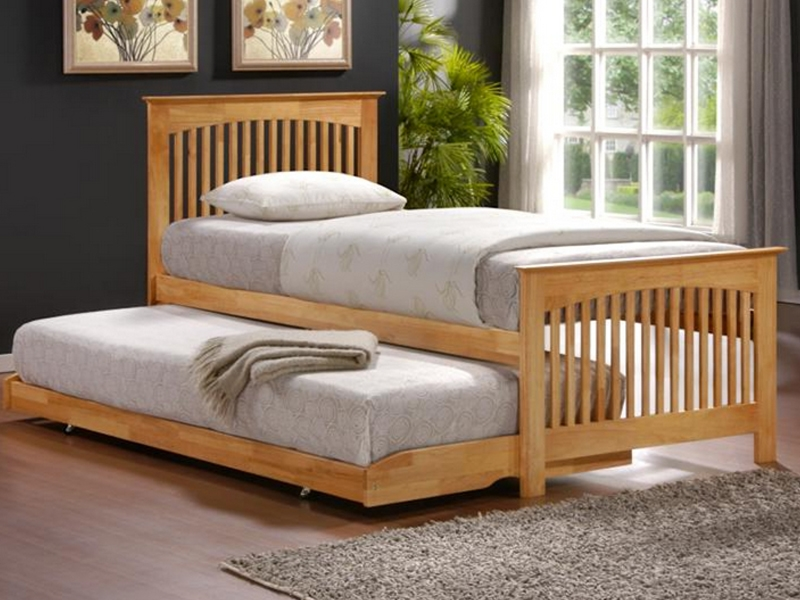 Charming High Quality Solid Wood Single Bed With Trundle Guest Bed /pullout Bed