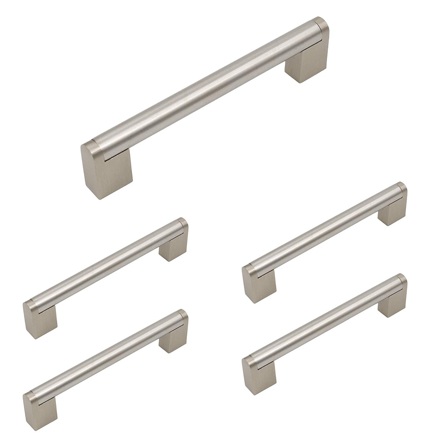 Homidy Kitchen Cabinet Door Handles Brushed Nickel 128mm(5 inch) Hole Centers Modern Boss Bar Cabinet Pulls and Knobs 5 Pack