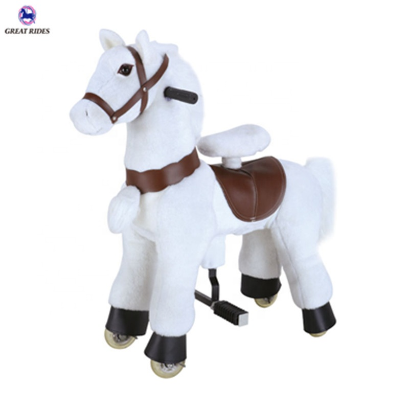 Interesting birthday gift kids amusement ride plush toys small size pony ride walking mechanical horse for sale