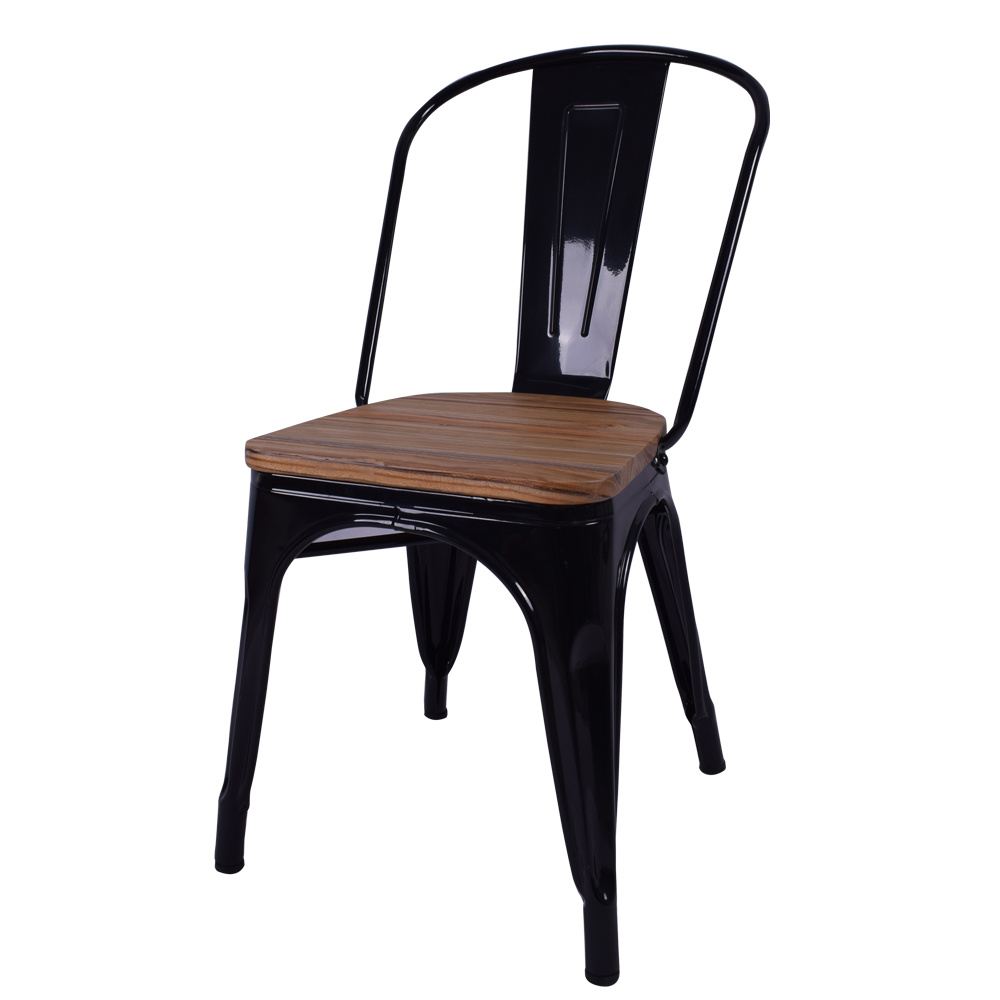 Chair Retro Style Restaurant Metal Dining Chair With Solid Wood Seat