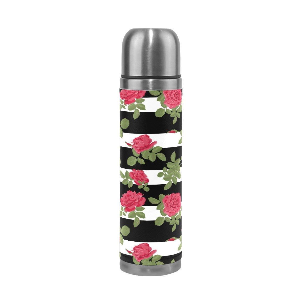 Get Quotations Lorvies Flower Red Roses Pattern With Horizontal Stripes Stainless Steel Thermos Water Bottle Vacuum Insulated Cup