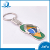 Wholesale high quality promotional souvenir zinc alloy custom shape 3D metal slipper keychain