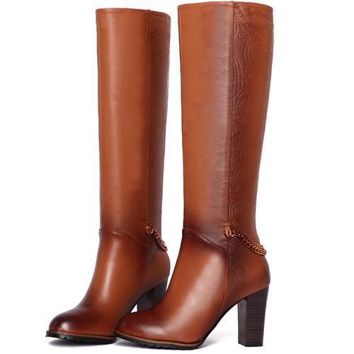 0d5eaf0ba43ace bottes cuir femme marron talon ...