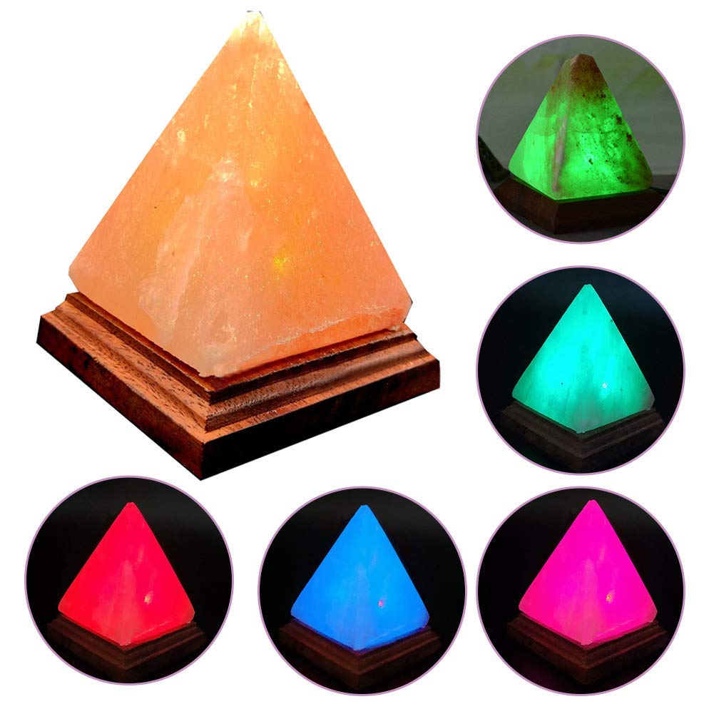 1PC Natural Crystal Salt Lamp Night light Himalayan LED Pyramid Ionic Air Purifier Rock Automatic Color Changing USB Charging
