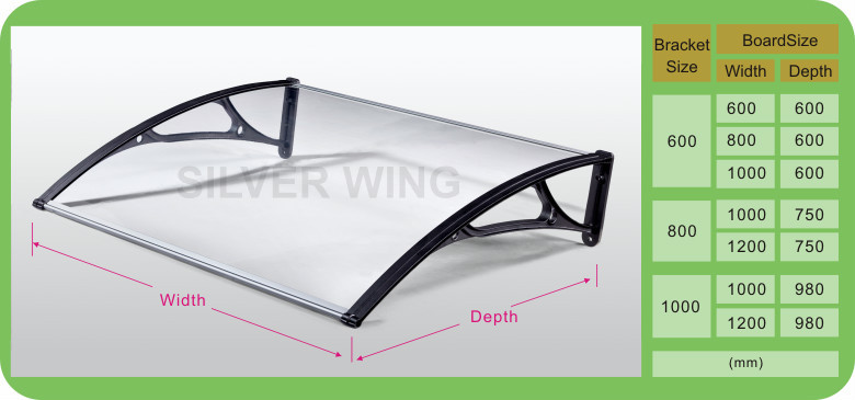 Silver Wing Yyp Seriesl Door Awning With Aluminum Brackets