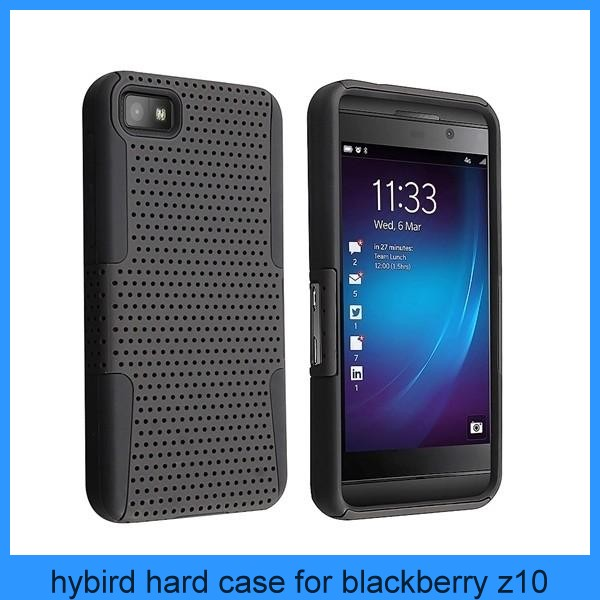 Black Mesh Hybrid Hard Silicone Case Cover For Blackberry Z10