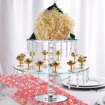 Hot Table Centerpieces 50cm Square Base Crystal Flower Cake Stand