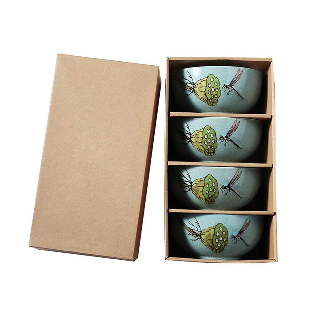 Noodle Bowls Ceramic Rice Bowls Soup Bowls Pasta Bowls Bowls blue glaze Pattern 7in 4-pack