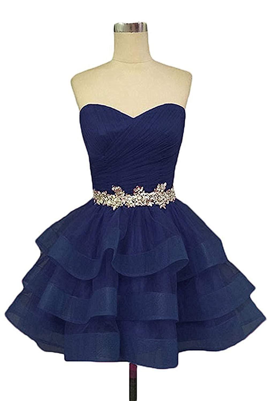 Dark Blue Short Puffy Prom Dresses