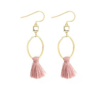 Zooying Delicate Girl Pink Tassel Gold Oval Earring