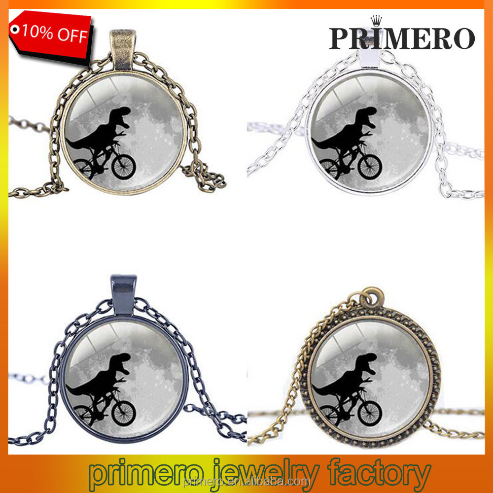 Glass Cabochon Art Picture Bicycle Pendant Vintage Bike Shaped Necklaces Classic Jewellery
