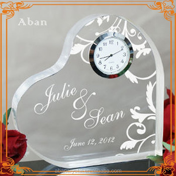 Nice Wedding Gifts Crystal Heart Shape Clock