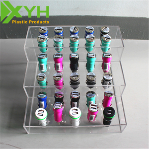 acrylic dual usb car charger display counter top cell phone accessories display