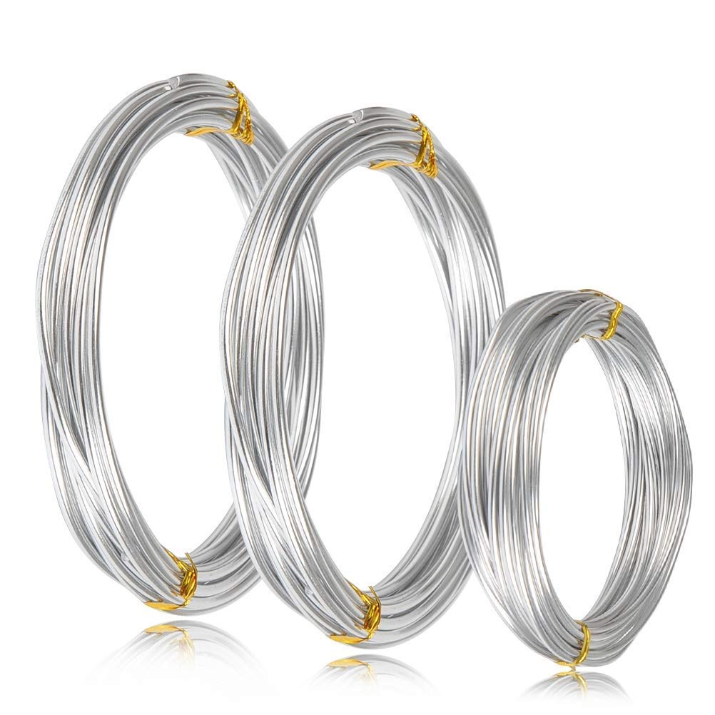 WOWOSS Silver Aluminum Craft Wire,3 Sizes (1 mm, 2 mm 3 mm in Thickness) Bendable Metal Wire DIY Sculpture Crafts, 3 Rolls, Each Roll 16.4 Feet