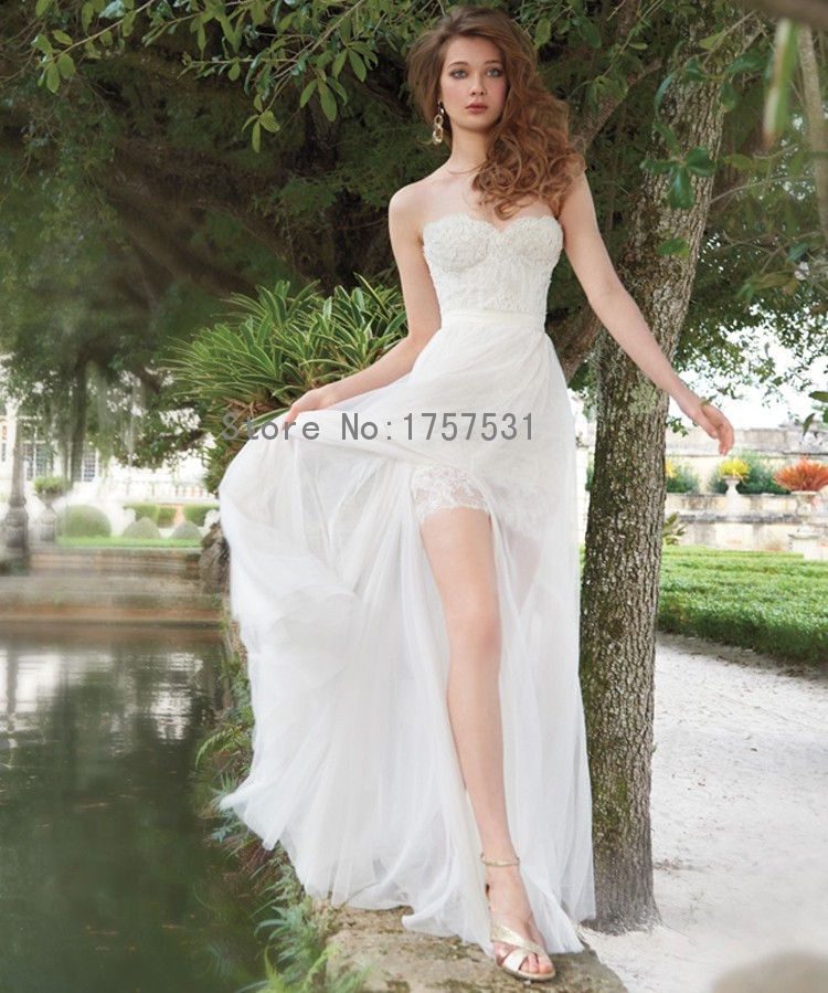2015 Hot Sale Sexy Sheath Mini Lace Beach Wedding Dresses
