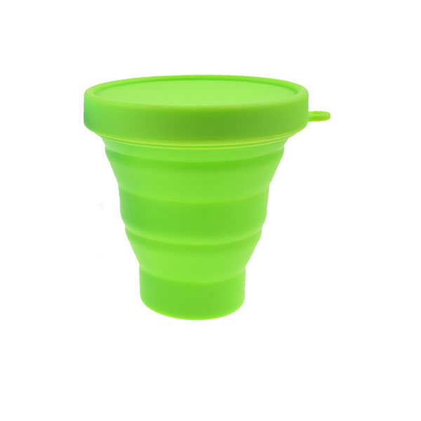 Fashionable ISO:2008 system silicone folded cup with lid