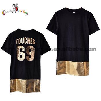 Side zipper splice foil print wholesale men custom t shirt for Foil print t shirts custom