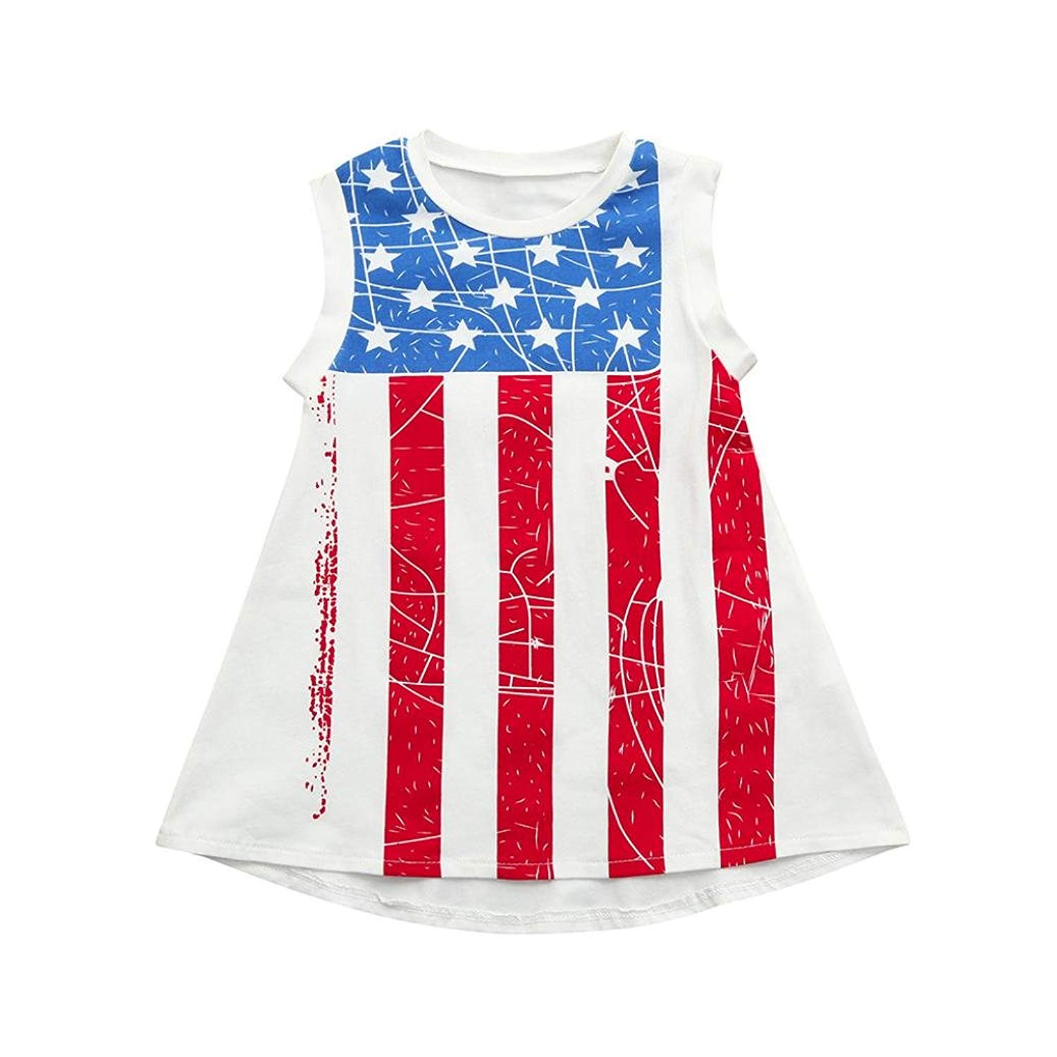 TiTCool Little Girls Sleeveless Dress, Girls Independence Day National Flag Print Dress Size 1-4T
