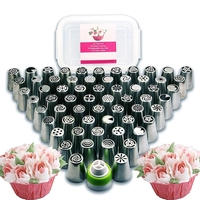 Russian Piping Tips Baking Supplies 112 pcs - Complete set of 60 Cake Icing Frosting Nozzles 50 Piping Box