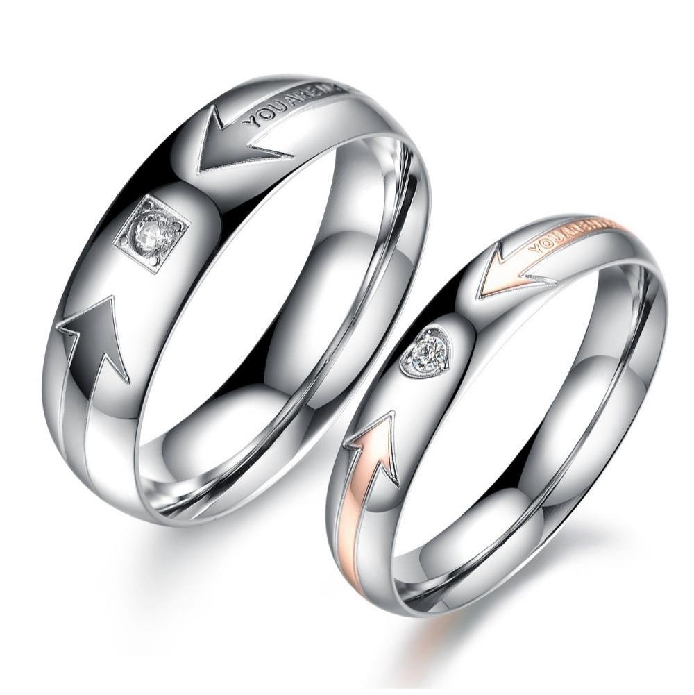 31bdcaf270 Get Quotations · Stainless Steel Rings WEDDING JEWELRY Couple Ring Sets  Designer Ring For Women And Men His And