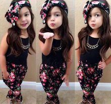 2016 New Kid Girls Clothing Sets Printed Floral Sleeveless Top Pant Headband 3pcs Girls Outfits Sets