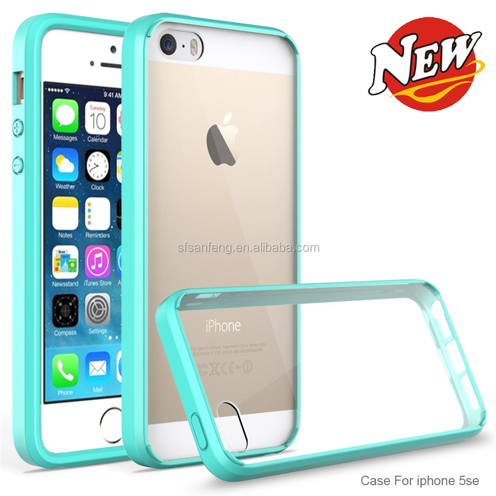 Candy Color Slim Crystal Clear Back Pannel + Tpu Bumper Case Cover for iphone5/5s/se/5c