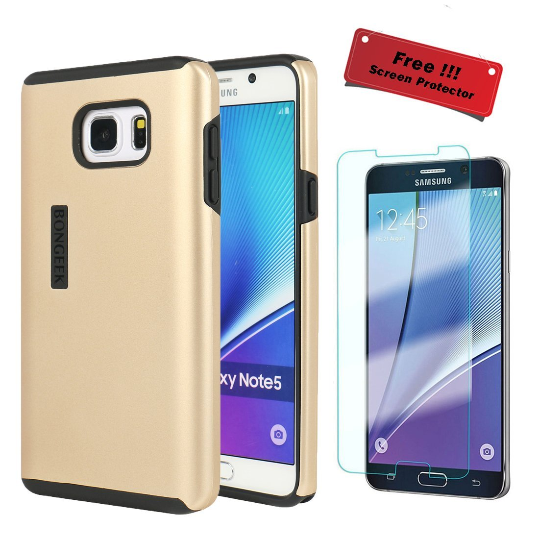 Samsung Galaxy Note 5 Case, FREE Tempered Glass Galaxy Note 5 Screen Protector WORTH $15 While Stocks Last, BONGEEK Dual Layer Hybrid Protective Case (Gold)