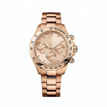 Luxury Custom Logo Rose Gold Stainless Steel Chronograph Watch