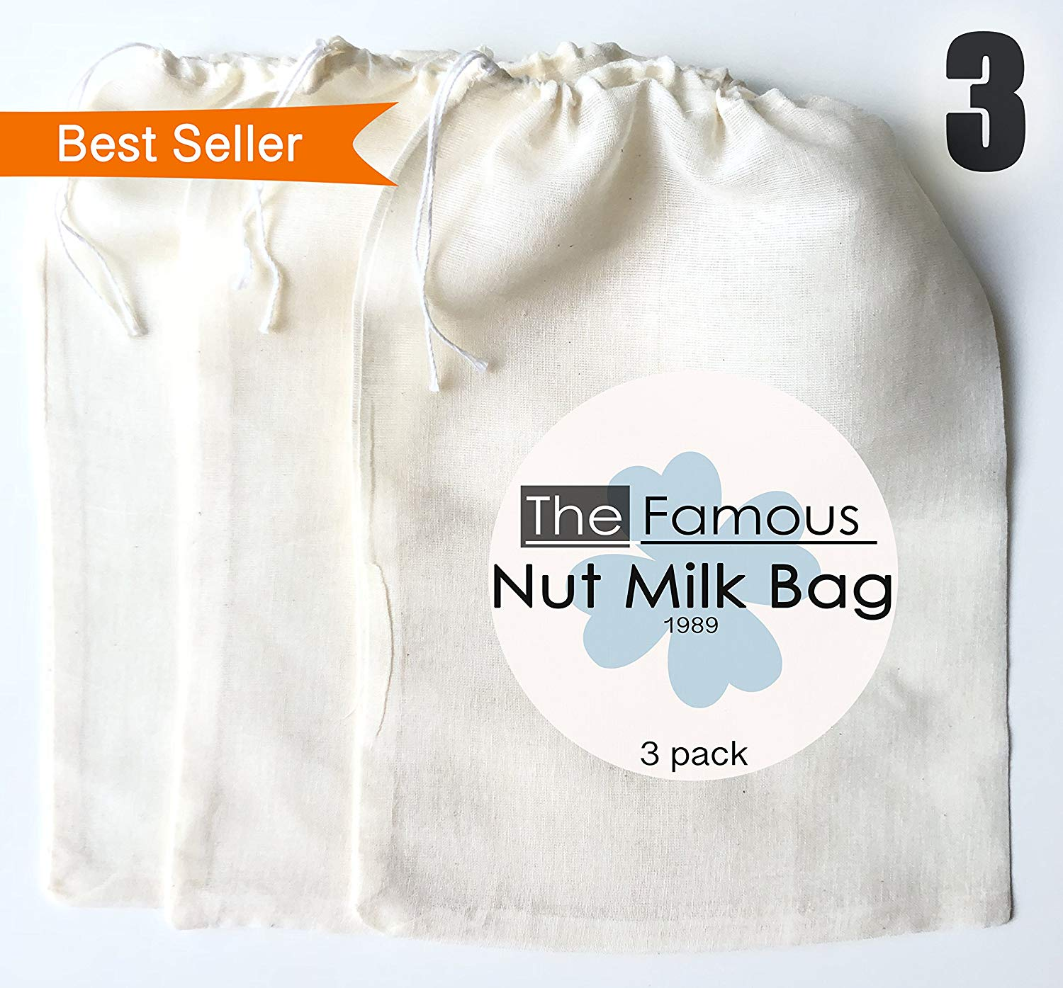 Fruit 6 Pack Nut Milk Bag 10 x 12 inch Tea Coconut Beer Greek Yogurt Replacement Reusable Strainer Cheesecloth Filter for Almond Nylon Mesh Cheesecloth Veg Soy Milk