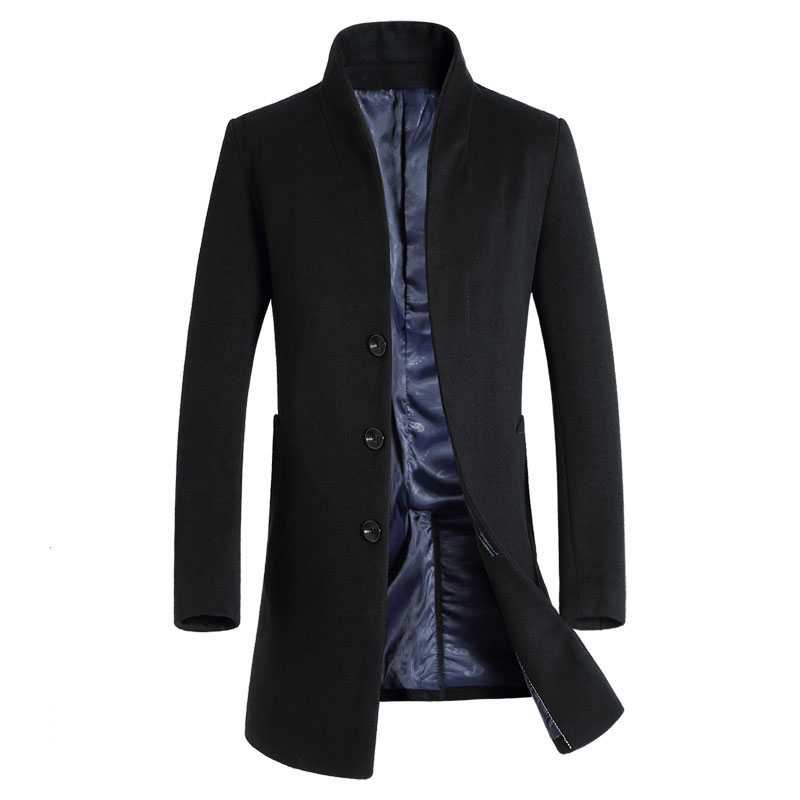 2016 New Long Wool Coat Men Fashion Pea Coat Jacket Wool