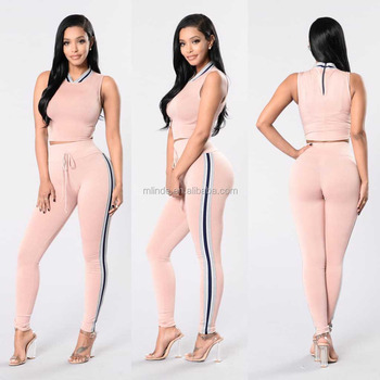 0aeb05cd1a893 korean fashion women Gym clothing Women suit Crop Top   High Waisted  Striped Pant sports wear