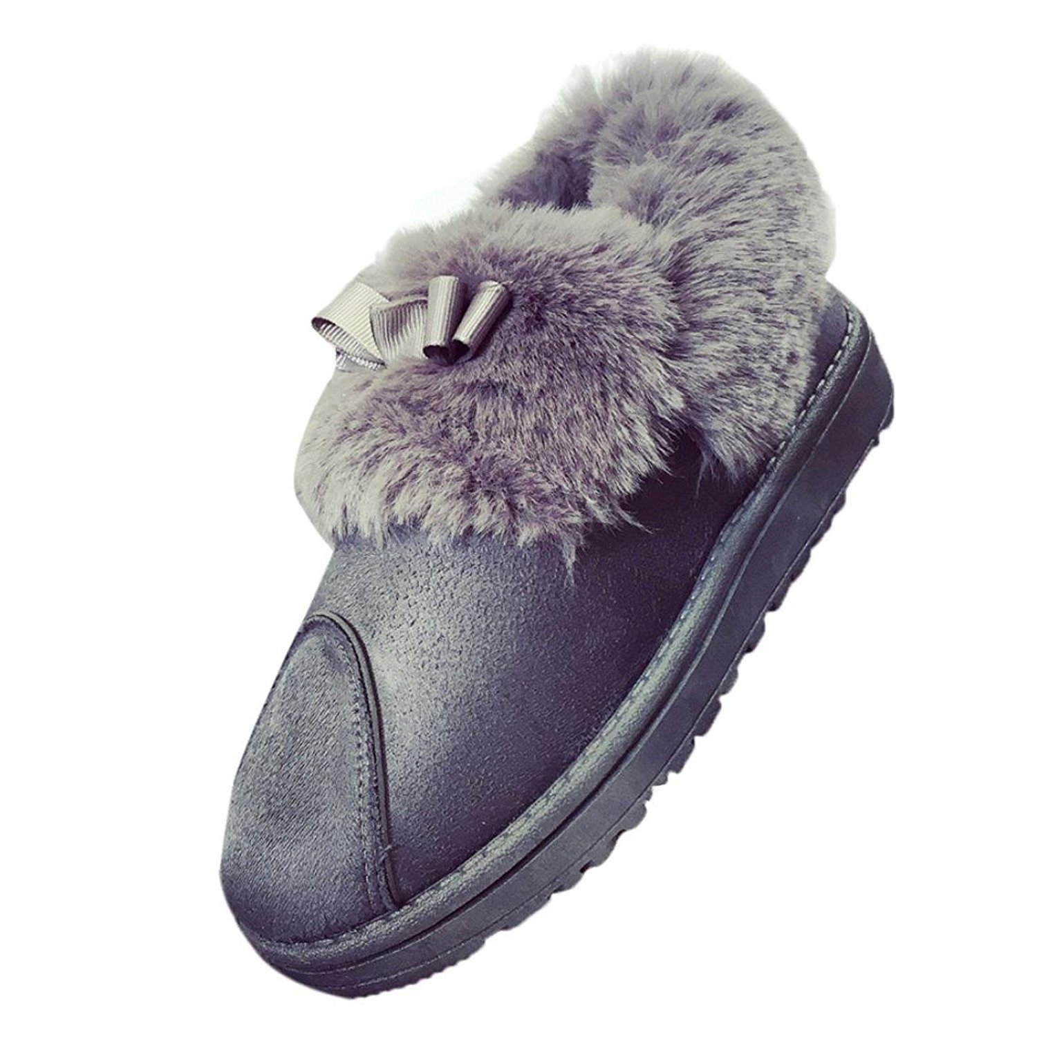 DEESEE(TM) Women Flat Lace Up Fur Lined Winter Martin Boots Snow Ankle Boots Shoes (US 5.5, Gray)