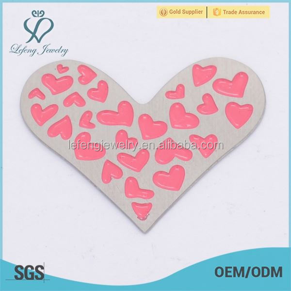 Hop selling fashion stainless steel enamel pink love heart photo memory plates jewelry