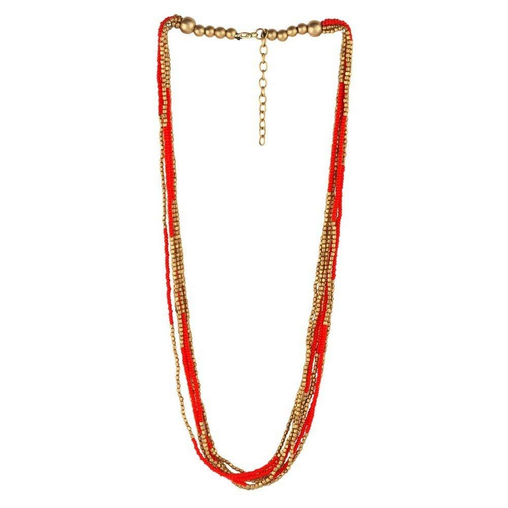 Joe Cool Bead String Necklace Bead 10 Multi-strand Gold With Colour (Red) Made With Glass by